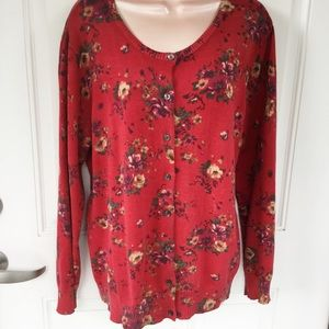 LL Bean red floral cotton sweater